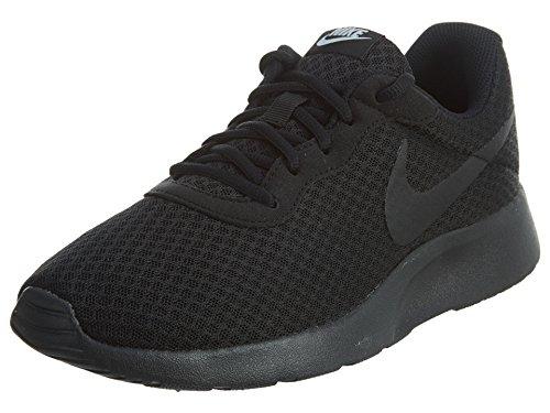 Nike Womens Tanjun Fabric Low Top Lace Up Running, Black/Black/White, Size 9.0 Q