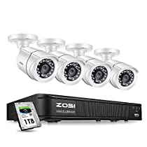 ZOSI Home Security Camera System 1080p,CCTV DVR 8 Channel with Hard Drive 1TB and 4 x Surveillance Bullet Camera 1080p Outside,Remote Access and Motion Detection