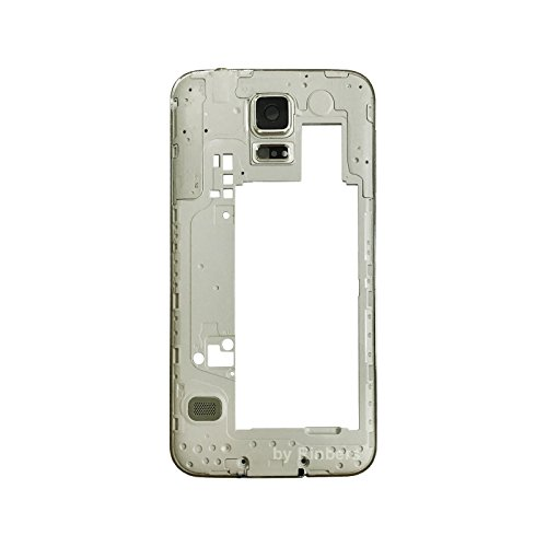 Middle Frame Housing - Rinbers Silver Middle Frame Bezel Chassis Rear Camera Panel Housing Replacement Part for Samsung Galaxy S5 G900F/G900H/G900A/G900T/G900V/G900P
