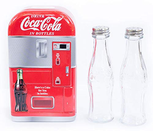 Coca-Cola Contour Bottle Glass Salt and Pepper Shakers and Tinbox Bank Gift Set