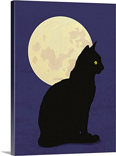 Canvas on Demand Premium Thick-Wrap Canvas Wall Art Print entitled Black cat and moon graphic hand painted illustration 30''x40'' by Canvas on Demand