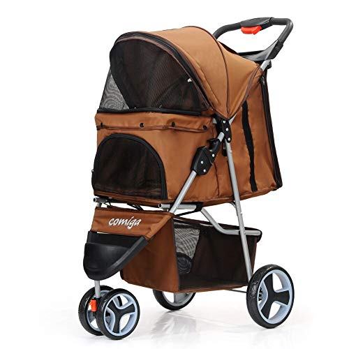 comiga Folding Pet Stroller for Dogs Cats, Three-Wheeled Animal Carrier Cage with Rain Cover Storage Basket and Mesh Window, Portable Waterproof and Breathable Coffee