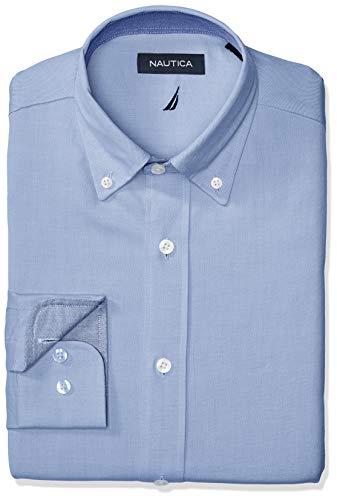 (Nautica Men's Classic Fit Button Down Collar Oxford Dress Shirt, Light Blue 17 32/33)
