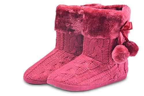 Ragazze Effetto Pom Poms Borgogna Maglia Pantofole Fairee Signore Pantofola Le Tessuto Airee Donna Con qTWUZanwFx