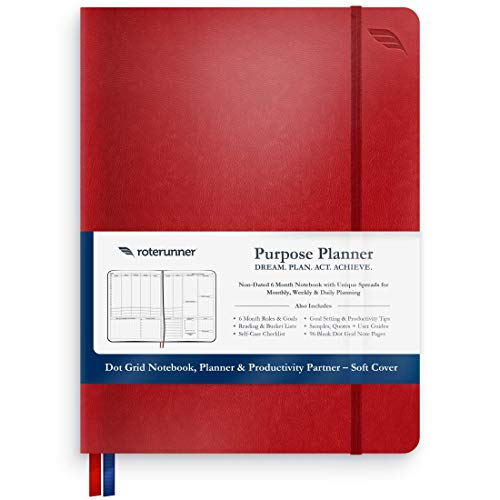 Purpose Planner by Roterunner Non-Dated Life Organizer, Notebook, Coach - Gain Clarity, Prioritize Effectively, Boost Productivity, Live Your Best Life - Soft Cover Journal 7.75