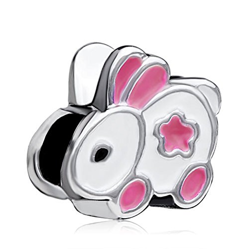 (Silver Plated Pugster Little Bunny Rabbit European Charm Fits Pandora Bead Bracelet)