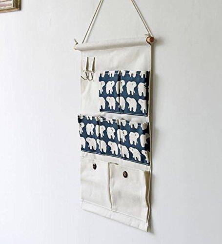 B/ären Kimjun Baumwollbeutel Wand h/ängenden Beutel 7 Tasche Wand H/äng Aufbewahrungstasche H/ängenden Tasche Organizer Multifunktionale Wohnzimmer Schlafzimmer Utensilo 35*50CM