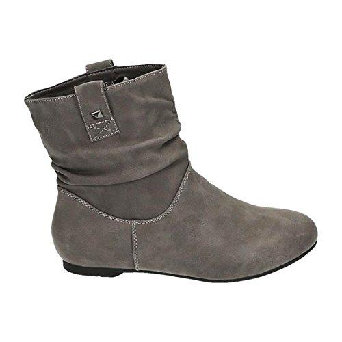 Jumex Damen Stiefeletten Stiefel Boots Flache Schlupfstiefel Schuhe 82 Grau 11f5b49a84