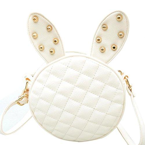 White Rabbit Bag (Round Bag,Hemlock Women Girl Rabbit Ear Handbag Shoulder Bag (White))