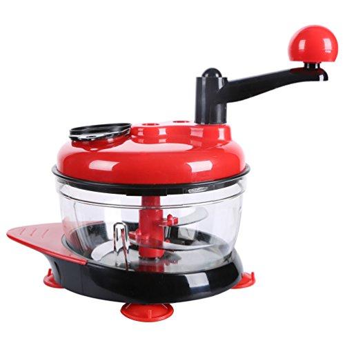 Food Processor, Mixer and Blender, Manual Food Chopper, Salsa Maker, Handheld Vegetable Spiralizer / Dicer / Mincer / Spiral Slicer - Chop Fruits, Vegetables, Meat, Onions, Garlic, Salad, Coleslaw (Miracle Chopper Salsa Maker)