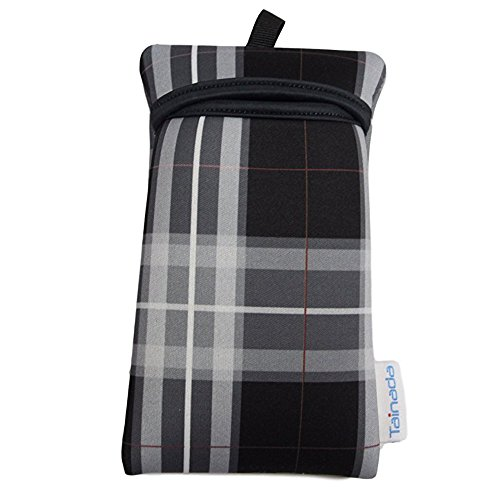 Tainada Shockproof Smartphone Neoprene Sleeve Carry Bag Pouch with Neck Lanyard & Carabiner for iPhone XR, Xs Max, Xs, 8 Plus, Samsung S9+, S9, Google Pixel 3, LG G7. (Tartan ()