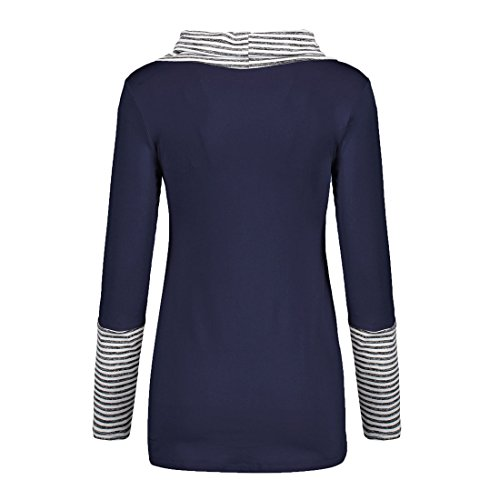 T Casual Shirts Longues Svelte Tunique Haut Raye Long Blouse Col Manches Bleu Marin Fashion Chemisiers Tops pissure Irregulier Femme Rond CS0xpp1