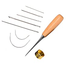 Outus 7 Pieces Curved Upholstery Hand Sewing Needles with Drilling Awl and Thimble for Leather Repair