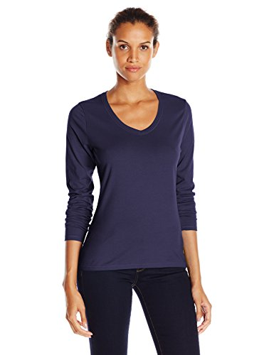 Hanes Women's V-Neck Long Sleeve Tee, Hanes Navy, Large