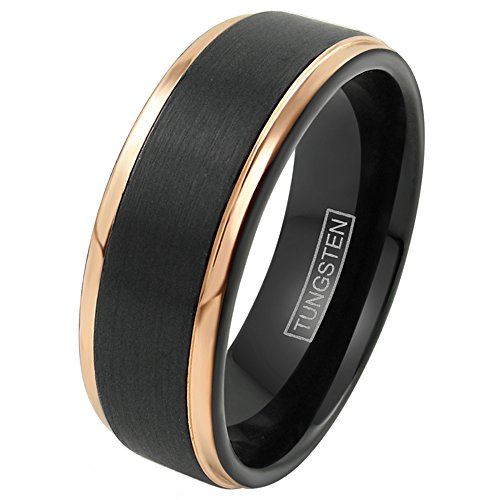 - King's Cross Personalized Engraved Beautiful Black 6mm/8mm Tungsten Wedding Band w/Exquisite Rose Gold Stepped Edges. (Tungsten (8mm), 10)