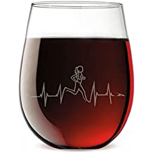 Heartbeat Runner Female Engraved Stemless Wine Glass | Wine Glasses By Gone For a Run | 15 oz.