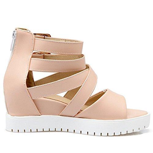 TAOFFEN Women Buckle Pink Comfort Hidden with Sandals Heel Ankle Strap Zipper RTq7UxrRw