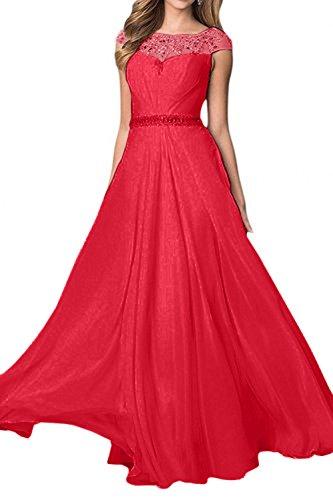 A Abendkleider Chiffon Rosa Charmant Rot Damen Linie Partykleider Pailletten Promkleider Hundkragen Lang wZqOzOfxXE