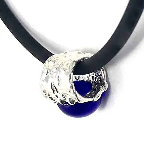 (.999 Pure Silver, Navy Glass Gem, Petite Slide Pendant, Lorna Moglia Designs)