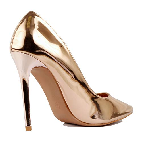 Classic Sexy Pointy Formal On Heart Dress High Patent Womens Heel Toe Guilty Office Slip Pump Party Rosegold qXptAnEpwU
