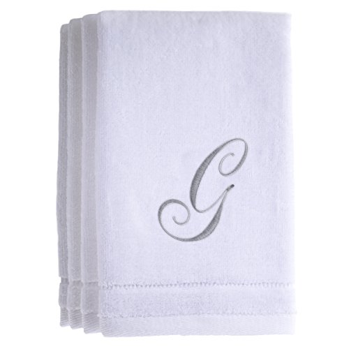 Monogrammed Towels Fingertip, Personalized Gift, 11 x 18 Inches - Set of 4- Silver Embroidered Towel - Extra Absorbent 100% Cotton- Soft Velour Finish - For Bathroom/ Kitchen/ Spa- Initial G (White)