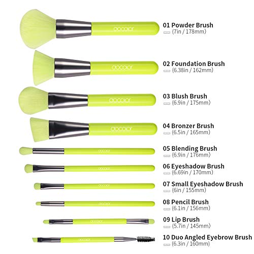 Docolor Makeup Brushes 10 Pcs Premium Synthetic Kabuki Foundation Brush Blending Face Powder Blush Concealers Eye…
