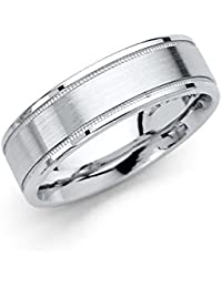 14k White Gold Polished Satin 6MM Flat Milgrain Comfort Fit Wedding Band Ring