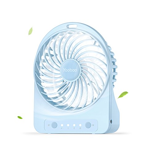Yoobao Battery Operated Mini Desk Fan, Portable Personal Table Fan, Small Handheld Electric Cooling Fan for Office, Outdoor Camping and Travel (3300mAh Rechargeable Battery, 3 Speeds) - Blue