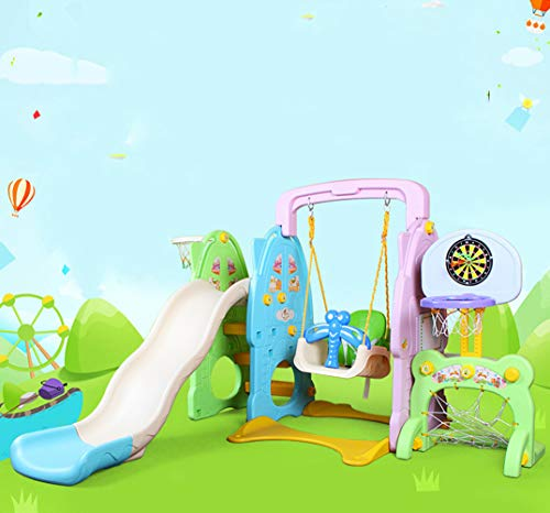 Slide Swing Set Toddler Climber with Music and Basketball Hoop Playset for Both Indoors Backyard,Green by Thole (Image #6)