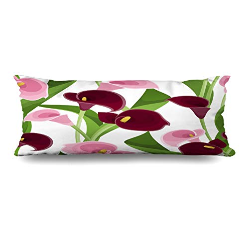 - Ahawoso Body Pillows Cover 20x54 Inches Leaf Lily Pink Purple Calla Lilies Flower Nature Green Flora Pattern Bloom Design Decorative Zippered Pillow Case Home Decor Pillowcase