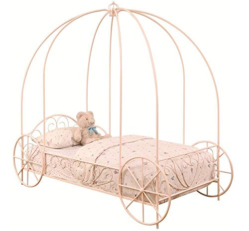 Photo Coaster Home Furnishings Massi Twin Canopy Carriage Bed Powder Pink