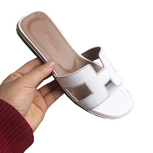DFB Slippers Women Summer Flat Leather Rhinestones Beach Word Drag Fashion Sandals Sandals Slippers For Women,White-38