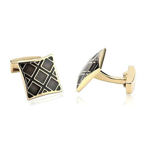 Epinki Men Stainless Steel Rhombus Design Square Gold Black Cufflinks Unique Business - Bulgari Sydney