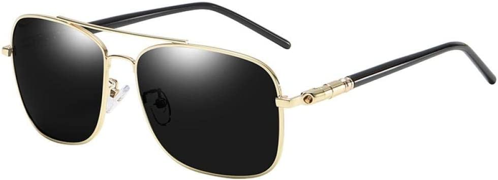 HPPSLT Redondo Gafas de Sol Polarizadas para Hombres y MujeresMetálico Montura, Gafas de Sol cuadradas de Moda Gafas de Sol con protección UV