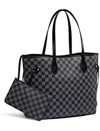 6971b1df211306 Checkered Tote Shoulder Bag with inner pouch - PU Vegan Leather