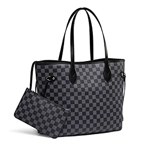 Daisy Rose Checkered Tote Shoulder Bag with inner pouch - PU Vegan Leather 29