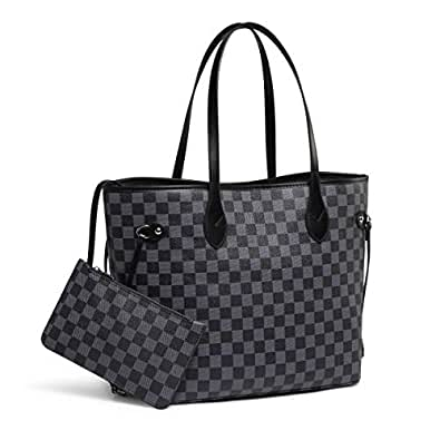Daisy Rose Checkered Tote Shoulder Bag with Inner Pouch - PU Vegan Leather Black Size: Medium