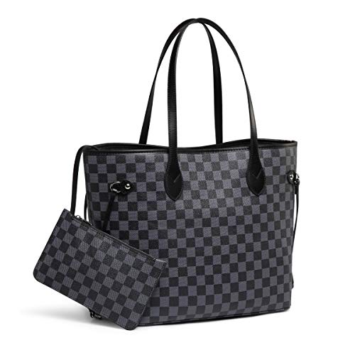 Daisy Rose Checkered Tote Shoulder Bag with inner pouch - PU Vegan Leather (Black) (Shoulder Leather Bag Tote)