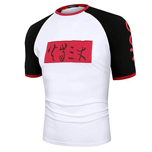 LEKODE Men T-Shirt Popular Printed Casual Fashion Round Neck Tee Short Sleeve Blouse(Black,M(M))]()
