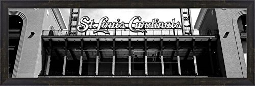 Low angle view of the Busch Stadium in St. Louis, Missouri by Panoramic Images Framed Art Print Wall Picture, Espresso Brown Frame, 38 x 13 inches