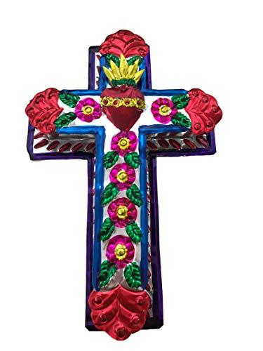 "Casa Fiesta Designs Embossed Tin Cross - Mexican Folk Art Wall Decor - Handmade in Mexico - Milagros Charm - Sacred Heart Ornament - Mexican Art - 8.5"" x 5.5"" Cruz de Metal (M)"
