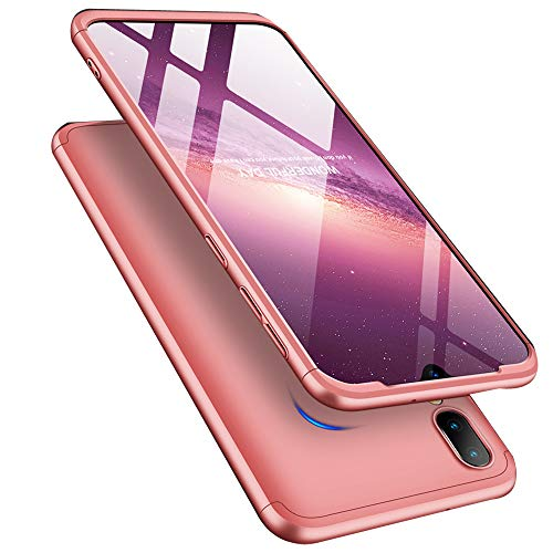 ISADENSER for Samsung Galaxy A10 Case Ultra Slim 2 in 1 Shockproof 360°Full Body Front Back Hard PC Plastic Anti-Scratch Cover Compatible with Samsung Galaxy A10,2IN1 PC - Rose Gold