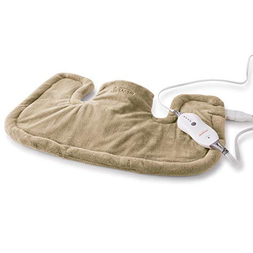 Sunbeam Heating Pad for Neck & Shoulder Pain Relief | Standard Size Renue, 4 Heat Settings with Auto-Shutoff | Brown, 14-Inch x 22-Inch