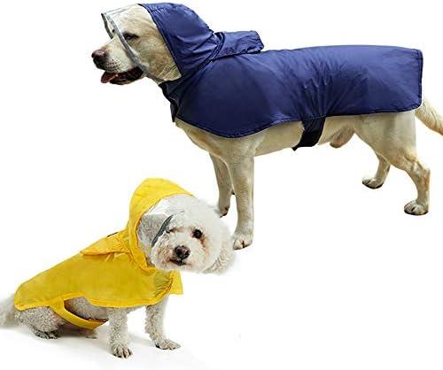 Petneces 犬用 ペットレインコート ポンチョ式 反射テープ ポケット フード付き リード穴あり 通気 軽量 散歩 防水 着せやすい (XXL, ブルー)