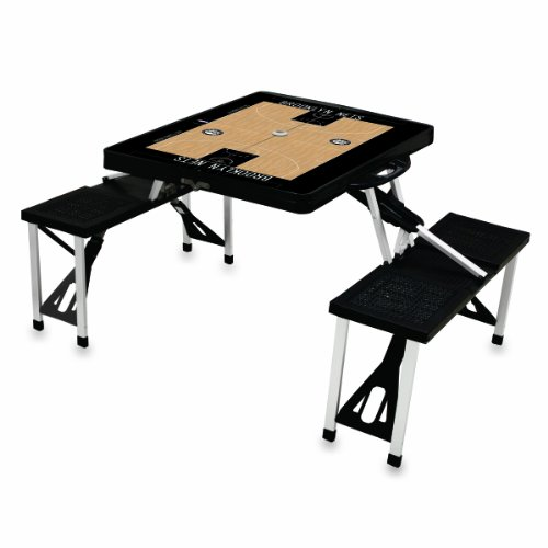 Picnic Time NBA - Mesa Plegable portátil de Baloncesto, Black,Brooklyn Nets, 18' x 5' x 36'