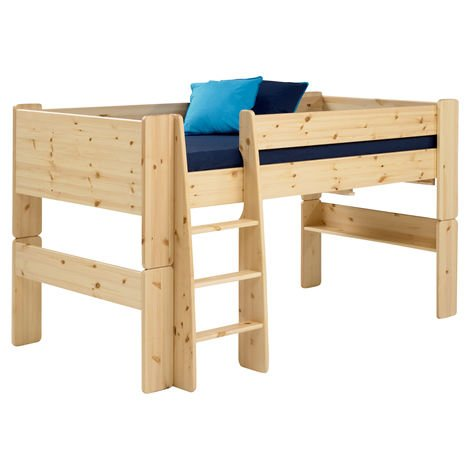 Steens Pine Mid Sleeper Raised Childrens Single Bed Frame Kids High Amazoncouk Kitchen Home