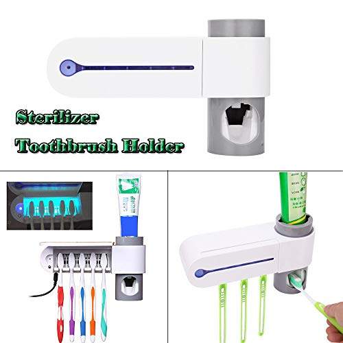 SUJING UV Toothbrush Holder, Toothpaste Dispenser Toothbrush Holder Brush Wall-Mounted Disinfection UV Sterilizer