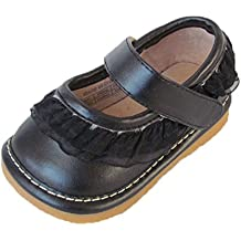 Squeaky Shoes Toddler Black Leather Shoes with Ruffles