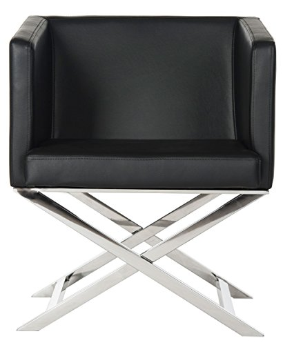 (Safavieh Home Collection Celine Black and Chrome Modern Glam Bonded Leather Cross Leg Chair)