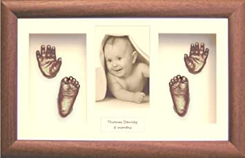 Wooden Frame With 3D Gold Color Memory Prints Baby Kids Feet /& Hand 3D Cast Kit